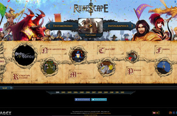 Screenshot of the RuneScape 200 million minisite