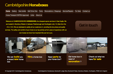 Screenshot of the Cambridgeshire Horseboxes website